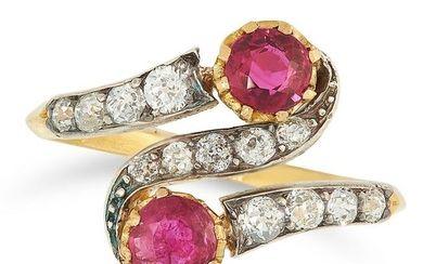 A RUBY AND DIAMOND TOI ET MOI RING set with two round