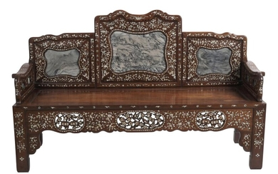 A STRAITS CHINESE MOTHER OF PEARL AND MARBLE INLAID HARDWOOD SETTEE QING DYNASTY (1644-1912), CIRCA 19TH CENTURY