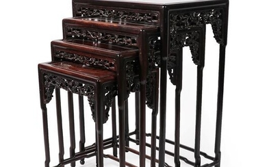 A Set of Chinese Carved Hardwood Quartetto Nesting Tables, early...