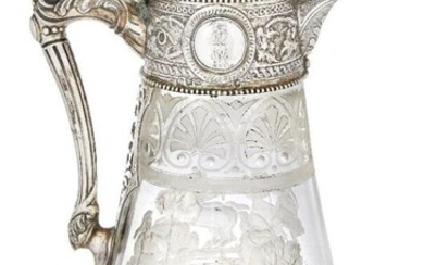 A Victorian silver-mounted etched glass ewer, Sheffield,...