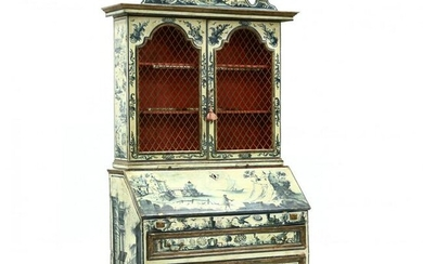 A Vintage Italian Paint Decorated Secretary Bookcase