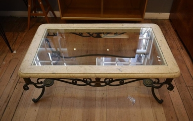 A WROUGHT IRON BASE COFFEE TABLE WITH GLAZED TOP (48H X 135W X 78D) (PLEASE NOTE THIS ITEM MUST BE REMOVED BY CLIENTS OR CARRIERS AT...
