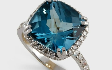 A blue topaz, diamond and eighteen karat white gold
