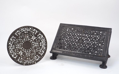 A cast iron table lectern, 19th century, designed with pierced...