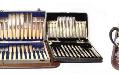 A collection of silver and silver plated flatware, the silver...