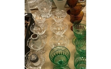 A collection of various glassware to include a Lalique style...