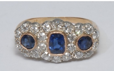 A diamond and sapphire triple crown cluster ring, three indi...