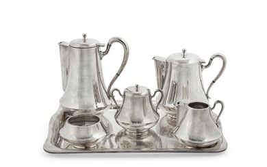 A five piece modernist Mexican sterling silver tea and coffee service with tray