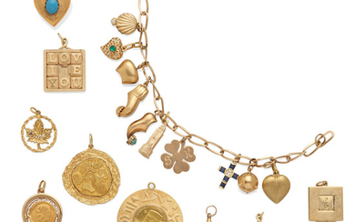 A gold charm bracelet with a collection of eight loose charms and a gold key