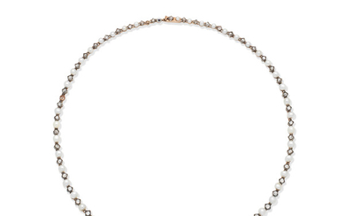 A late 19th century natural pearl and diamond necklace, French