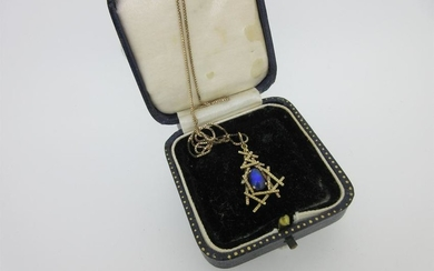 A modern water opal pendant on box link chain,