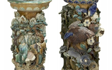 A pair of Chinese stoneware jardiniere stands,...