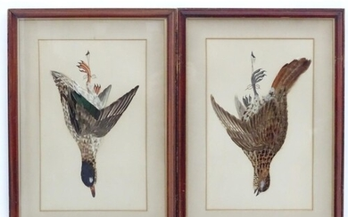 A pair of Victorian decoupage feather and painted bird pictu...