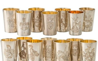 A set of 14 silver schnapps cups with nobility coat of