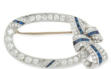 AN ANTIQUE DIAMOND AND SAPPHIRE BROOCH designed as an