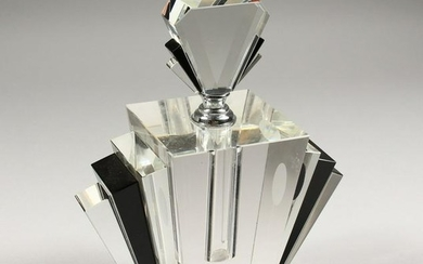 AN ART DECO DESIGN HEAVY BLACK AND WHITE SCENT BOTTLE