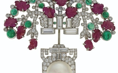 ART DECO RUBY, EMERALD, DIAMOND AND NATURAL PEARL JABOT-BROOCH, CARTIER