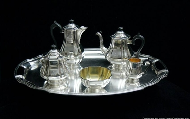 AUGUST LEROY - ART DECO 6 pc. FRENCH ANTIQUE STERLING