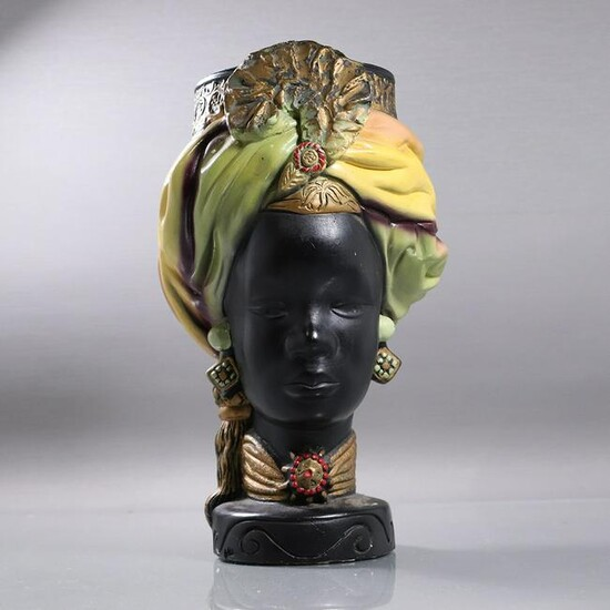 African Queen Beauty Hand Painted Head Planter