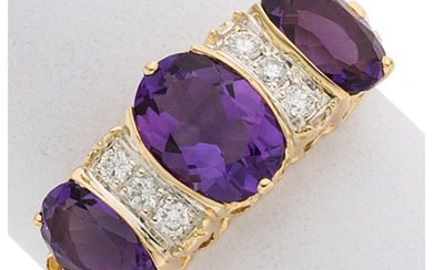 Amethyst, Diamond, Gold Ring The ring centers oval-shaped amethyst...