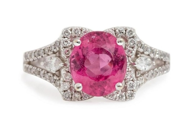 An 18 Karat White Gold, Pink Sapphire and Diamond Ring,