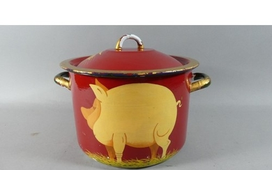 An Enamelled Two Handled Cooking Pan Decorated with Pig, 23c...