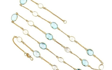 An aquamarine and moonstone long chain, set with...