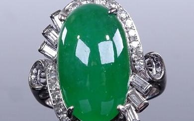 An unmarked white gold cabochon jadeite and diamond cluster ...