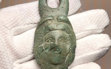 Ancient Roman Bronze Applique with a Head of the Roman Goddess of Hunt Diana (Artemis) wearing a Crescent Crown.