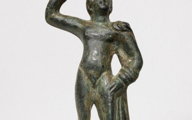 Ancient Roman Bronze Exquisite Statuette of Apollo in a Graceful pose wearing chlamys clasped at his right shoulder