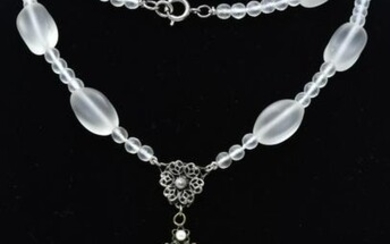 Antique C 1920s Carved & Frosted Glass Necklace