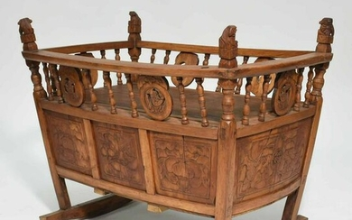 Antique Chinese Carved Cradle