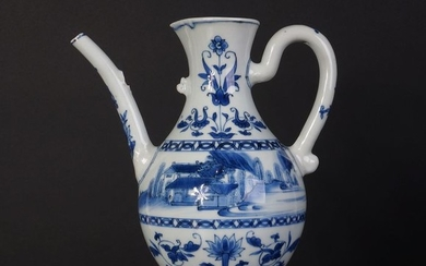 Antique Chinese blue and white porcelain wine jug from the transitional period (1) - Blue and white - Porcelain - China - Transitional Period