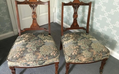 Antique Edwardian Marquetry Inlaid Dining Chairs
