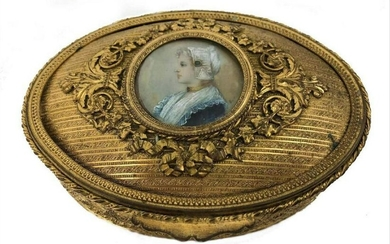 Antique French Bronze Vanity Casket Box Enamel