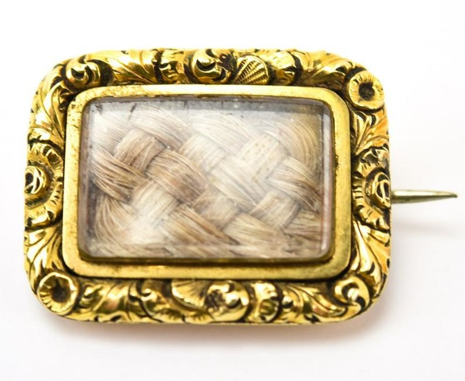 Antique Georgian 14kt Yellow Gold Mourning Pendant
