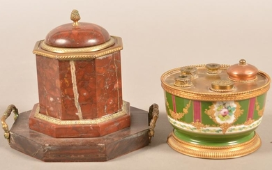 Antique Hand-Painted Porcelain and Marble Inkwells.