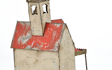 Architectural Still Bank with Large Bell Tower Tin Toy
