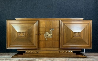 Atypical buffet Art Deco period in walnut