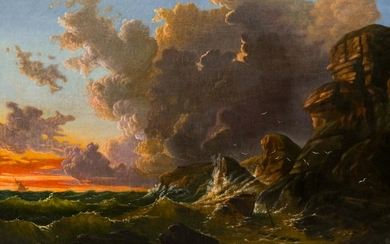 Austrian 19th Cent. Evening Coastal Scene Oil on Canvas