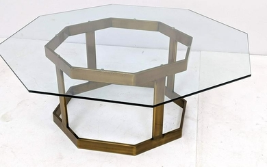 Bronze Finish Metal Cocktail Coffee Table. Octagonal gl