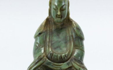 """CHINESE GREEN JADE CARVING OF SHOULAO Seated on a lotus throne. Height 3.75""""."""