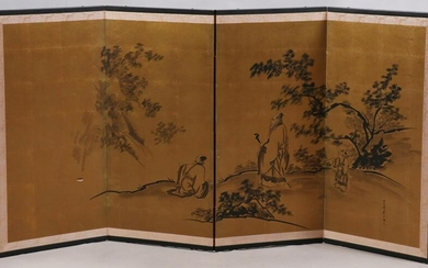 CHINESE HAND PAINTED ON SILK 4 PANEL SCREEN