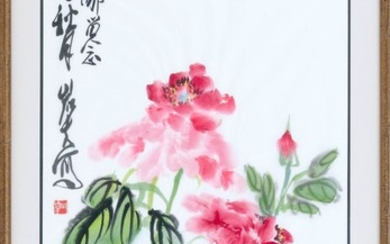 """CHINESE PAINTING ON PAPER IN THE MANNER OF QI BAISHI Depicting pink peonies. Signed and seal marked upper left. 26.5"""" x 17.5"""" sight...."""