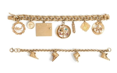 COLLECTION OF YELLOW GOLD CHARM BRACELETS