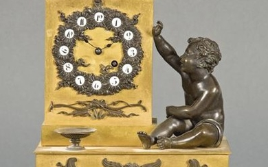 Carlos X Table Clock in gilt and gold bronze. On