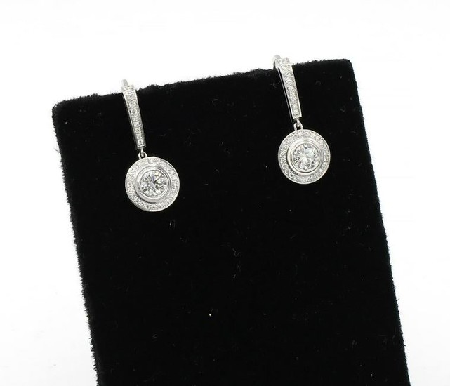 Cartier 18Kt White Gold Diamond Drop Earrings