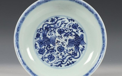 China, blue and white porcelain plate in Ming...