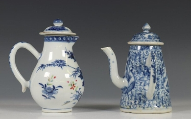 China, blue-white porcelain teapot, 18th century and milk...