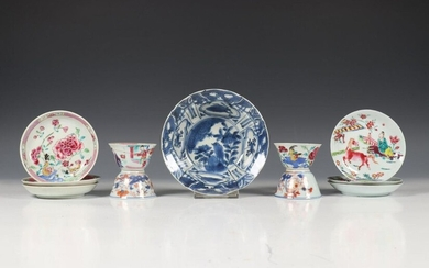 China, four cups and seven saucers, 18th century...